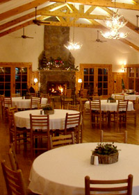 Meeting room and dining hall inside Deerfoot Lodge