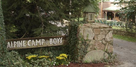 The main entrance to Alpine Camp for Boys